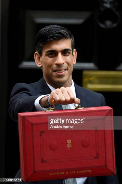 Chancellor of the Exchequer Rishi Sunak poses outside no11 Downing Street before delivering the first postBrexit budget in London United Kingdom on...