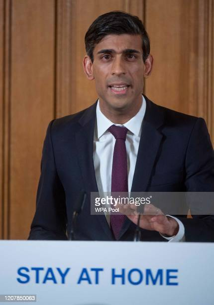 Chancellor of the Exchequer Rishi Sunak speaks during a daily press conference at 10 Downing Street on March 20 2020 in London England During the...
