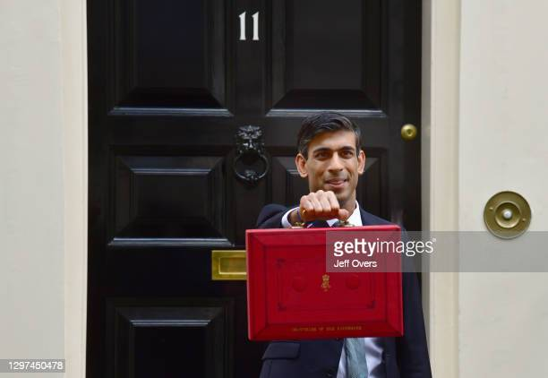 Chancellor of the Exchequer, Rishi Sunak, with the Budget box on Budget Day, in Downing Street on the 11th March 2020, London, England.