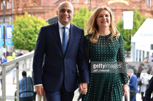 Chancellor of the Exchequer, Sajid Javid and his wife, Laura King attend day two of the 2019 Conservative Party Conference at Manchester Central on...