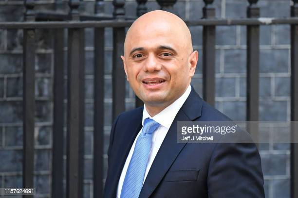 Chancellor of the Exchequer Sajid Javid arrives at 10 Downing Street on July 25 2019 in London England Britain's New Prime Minister Boris Johnson...