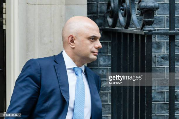 Chancellor of the Exchequer Sajid Javid leaves 11 Downing Street for PMQs at the House of Commons on 12 February 2020 in London England