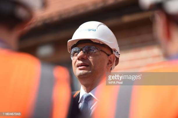 Chancellor of the Exchequer Sajid Javid looks on during a visit to the National Grid Training Centre near Newark on August 09 2019 in Newark Engand...