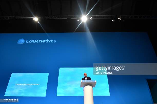 Chancellor of the Exchequer, Sajid Javid speaks on day two of the 2019 Conservative Party Conference at Manchester Central on September 30, 2019 in...