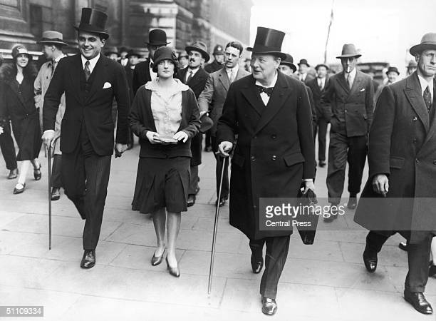 Chancellor of the Exchequer Winston Churchill with his daughter Diana on budget day 1928