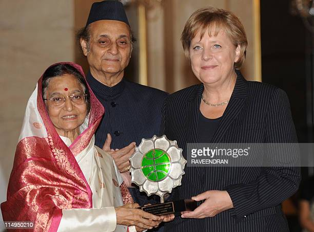 Chancellor of the Federal Republic of Germany Angela Merkel receives The Jawaharlal Nehru Award for International Understanding from Indian President...