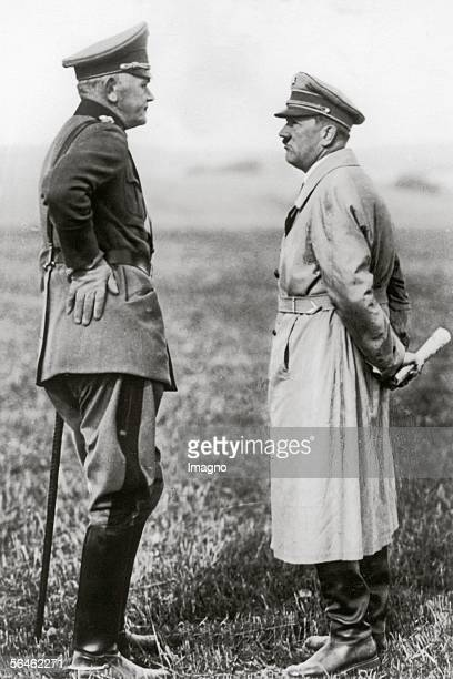 Chancellor of the Reich Adolf Hitler and Minister of Defense Werner Blomberg under discussion Ulm Germany Photography 891933 [Reichskanzler Adolf...