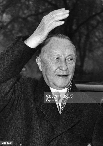 Chancellor of West Germany Konrad Adenauer as he arrives at the German Embassy in London.
