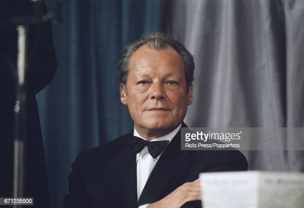 Chancellor of West Germany Willy Brandt pictured attending the Guardian newspaper's 150th anniversary dinner in London in May 1971