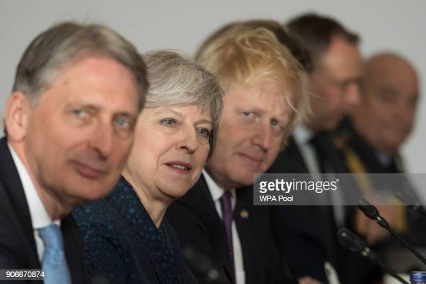 Chancellor Philip Hammond Prime Minister Theresa May and Foreign Secretary Boris Johnson during UKFrance summit talks at the Royal Military Academy...