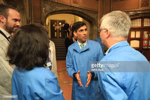 Chancellor Rishi Sunak during a visit to Leeds General Infirmary to show how yesterday's budget is supporting those affected by COVID19 on March 12...