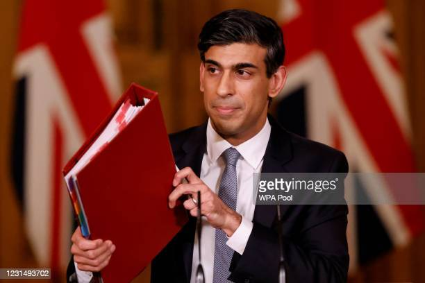 Chancellor Rishi Sunak holds press conference on 2021 Budget on March 3, 2021 in London, England. The Chancellor, Rishi Sunak, presented his second...