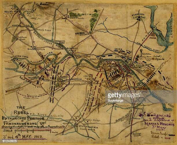 Chancellorsville area encompassing Kelly's Ford in the upper left Stafford in the upper right and Spotsylvania Court House at the bottom Indicates...