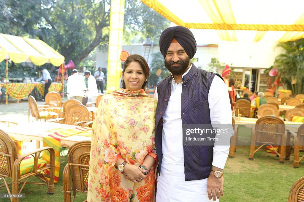 Chanchal Kaushik and Shiromani Akali Dal leader Manjinder Singh Sirsa during a lunch party for the political and media fraternity hosted by Union...