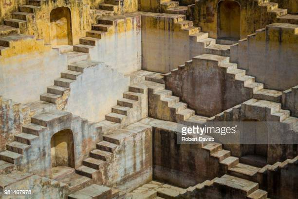 chand baori 3 - abhaneri stock photos and pictures