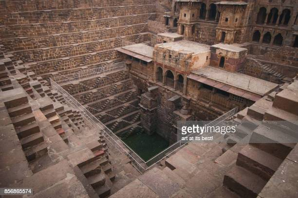 chand baori step well - abhaneri stock photos and pictures