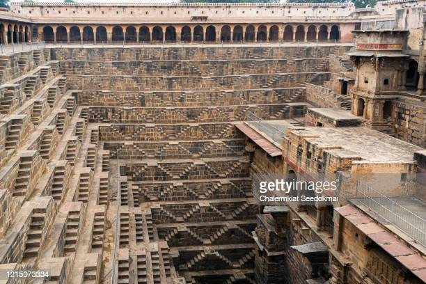 chand baori stepwell, abhaneri, rajasthan, india - chand baori stock pictures, royalty-free photos & images