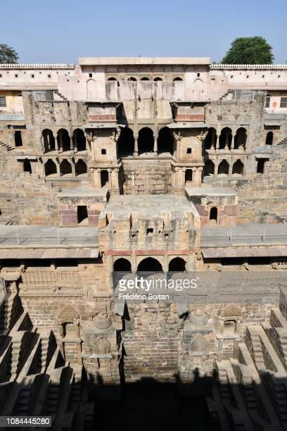 Chand Baori Stepwell in Abhaneri was buiilt around 800AD for the purpose of holding water during drought in Rajasthan on November 24, 2018 in India.