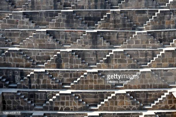 Chand Baori Stepwell in Abhaneri was buiilt around 800AD for the purpose of holding water during drought in Rajasthan on November 24 2018 in India