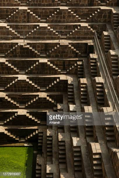 chand baori stepwell in india - abhaneri stock pictures, royalty-free photos & images