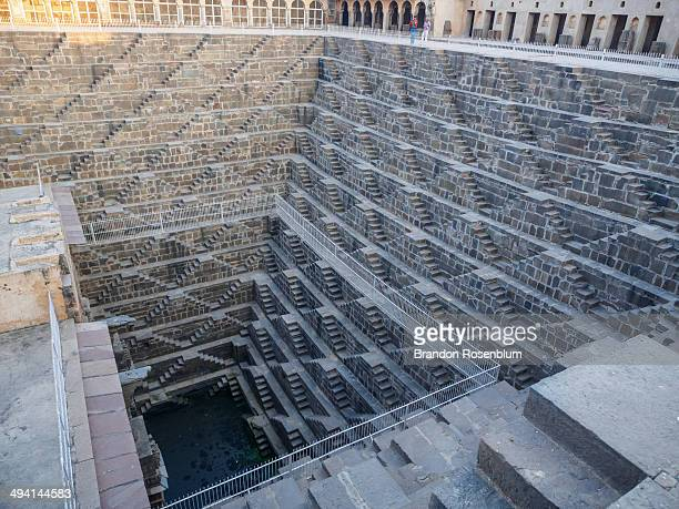 chand baori stepwell. - abhaneri stock photos and pictures