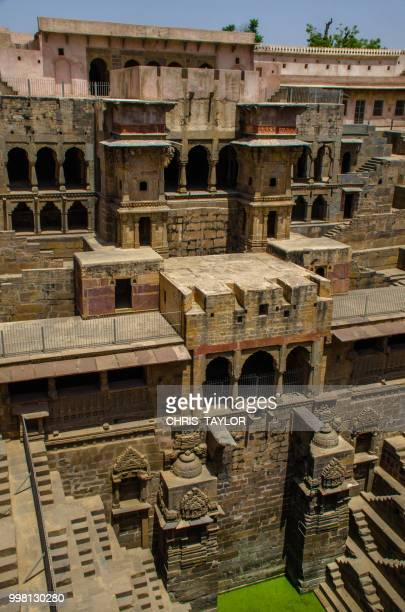 chand baori stepwell - abhaneri stock photos and pictures