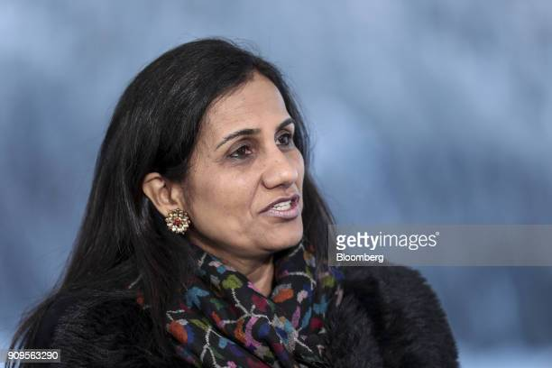 Chanda Kochhar chief executive officer of ICICI Bank Ltd speaks during a Bloomberg Television interview on day two of the World Economic Forum in...