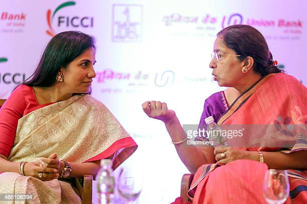 Chanda Kochhar managing director and chief executive officer of ICICI Bank Ltd left and Shikha Sharma managing director and chief executive officer...