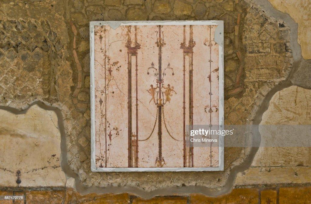 Chandelier Fresco In Roman Ruins Of Villa San Marco Stock Photo ...