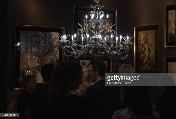 A chandelier is seen at Salone Del Mobile during Milan Design Week at Fiera Milano Rho on April 20 2018 in Milan Italy