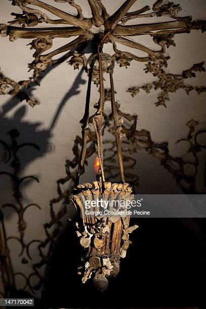 A chandelier made from the bones of the Capuchin monks adorns the crypt during the opening of the museum in the Capuchin convent of the Immaculate...