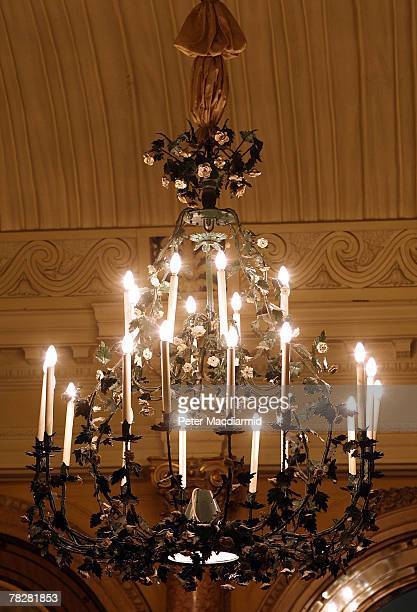 A chandelier that will be auctioned hangs above the Thames Foyer of The Savoy Hotel on December 6 2007 in London Some of the fixtures and fittings...
