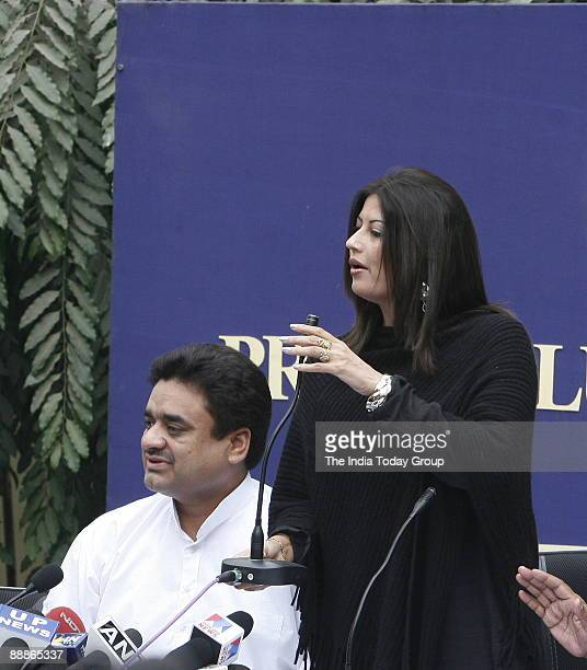 Chander Mohan alias Chand Mohammad former deputy Chief Minister of Haryana with his Wife Fiza addressing a Press Conference in New Delhi India