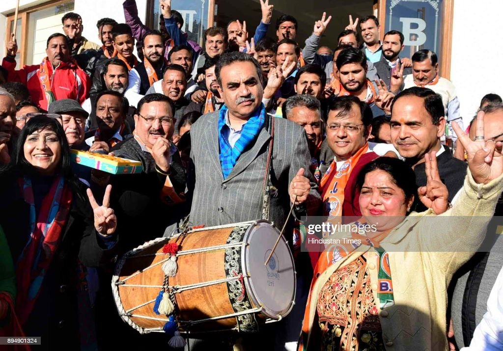 Chandigarh BJP Chief Sanjay Tandon and Chandigarh Mayor Asha Jaswal along with party workers celebrate the victory of the party in Gujrat and...