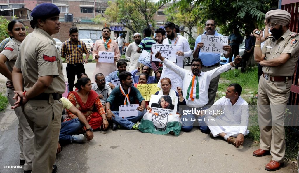 Chandigarh Congress workers protest against Vikas Barala outside Sector 26 Police Station on August 9 2017 in Chandigarh India Varnika Kundu the...