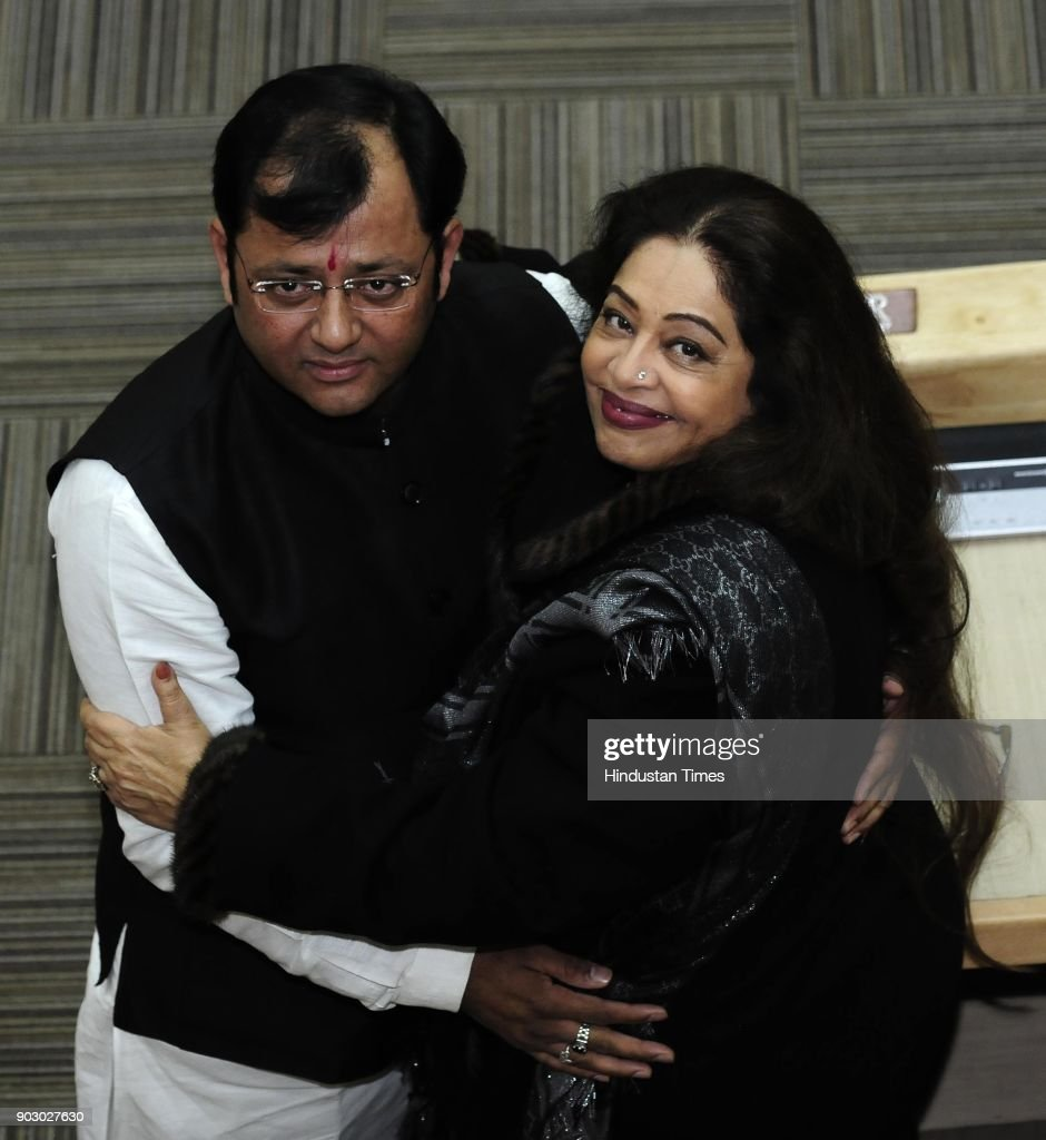 Chandigarh MP Kirron Kher and newly elected Chandigarh mayor Davesh Moudgil after winning mayor election at MC Office on January 9 2018 in Chandigarh.
