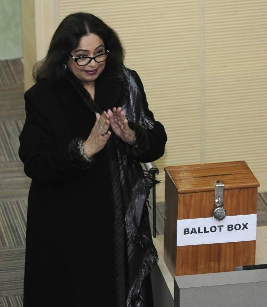 Chandigarh MP Kirron Kher cast a vote during Chandigarh mayor election at MC Office on January 9 2018 in Chandigarh India Davesh Moudgil won the post.