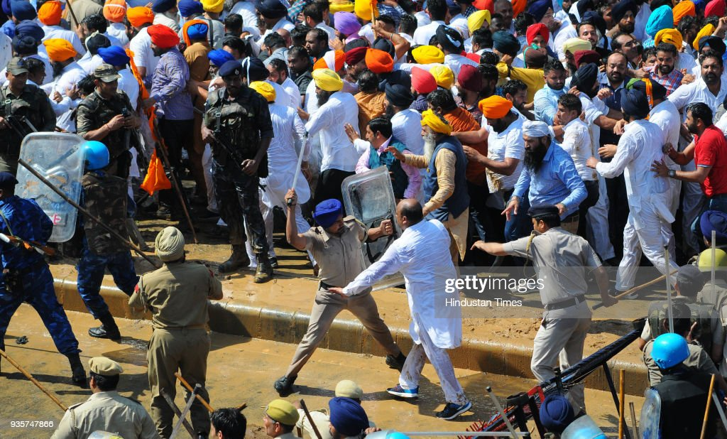 Chandigarh Police lathi charge on SAD leaders and supporters during their protest against Punjab Government at Sector 25 on March 20 2018 in...