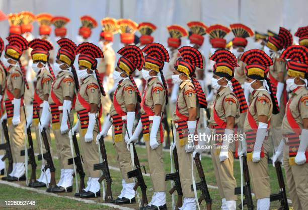 Chandigarh Police personals along with Punjab Police and CRPF participating in Parade to Celebrate 74th Independence day function at Parade ground at...
