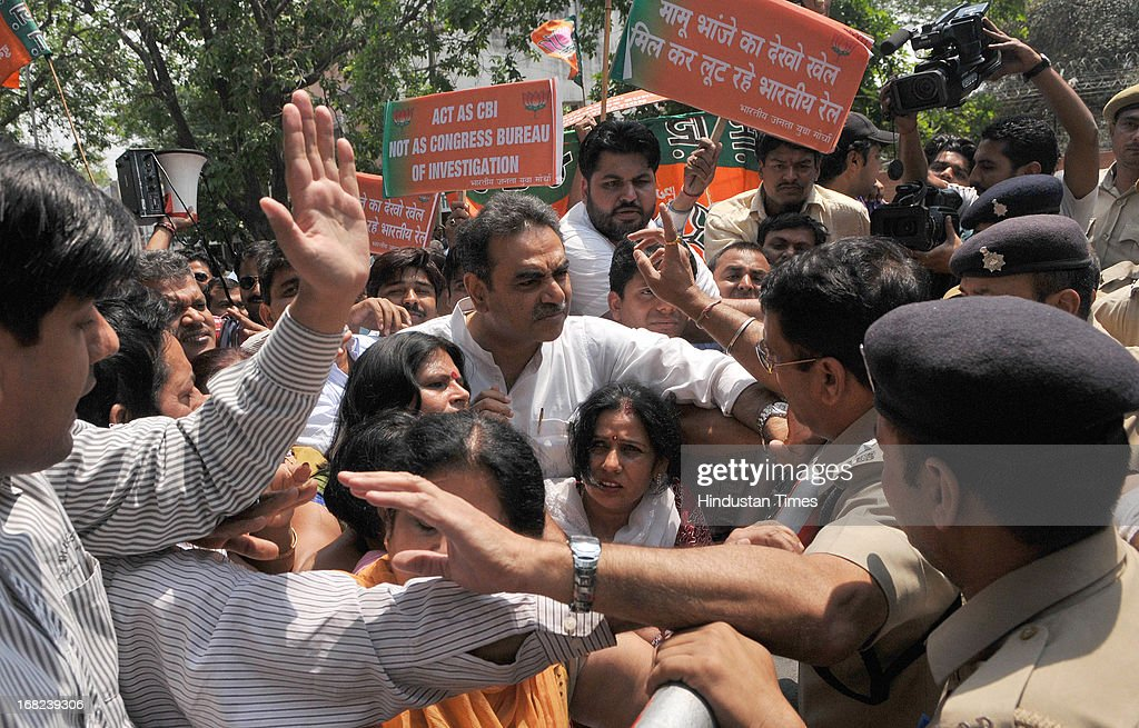 Chandigarh police personnel forcefully removing Sanjay Tondon Chandigarh BJP President and other protesters during the dharna against the Union...