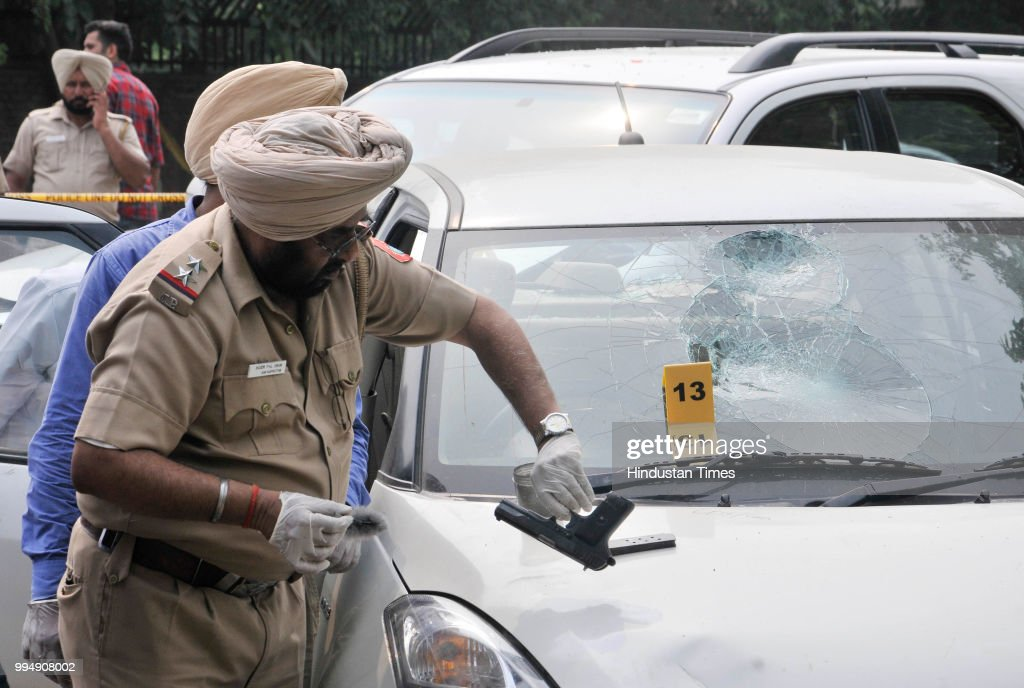 Chandigarh police takes finger prints from the gun which recovered gangster Dilpreet Singhs car while investigating at sector 43 on July 9 2018 in...