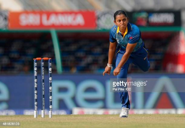 Chandima Gunaratne of Sri Lanka bowls during the ICC Women's World Twenty20 match between Bangladesh Women and Sri Lanka Women played at Sylhet...