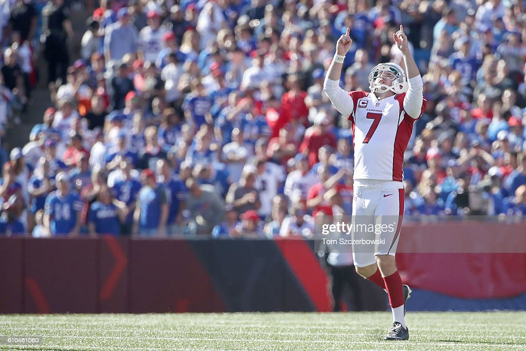 Chandler Catanzaro #7 of the Arizona Cardinals celebrates his 60-yard field goal against the Buffalo Bills during the second half at New Era Field on September 25, 2016 in Orchard Park, New York.