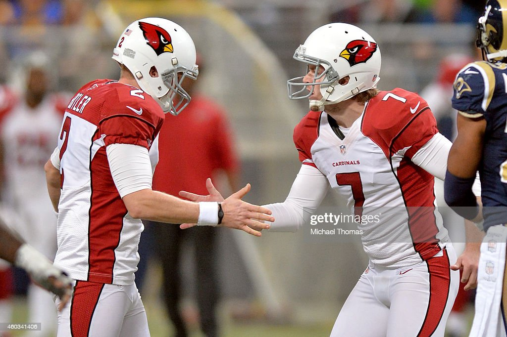Chandler Catanzaro #7 of the Arizona Cardinals celebrates with Drew Butler #2 after kicking a field goal in the fourth quarter against the St. Louis Rams during their game at Edward Jones Dome on December 11, 2014 in St Louis, Missouri.