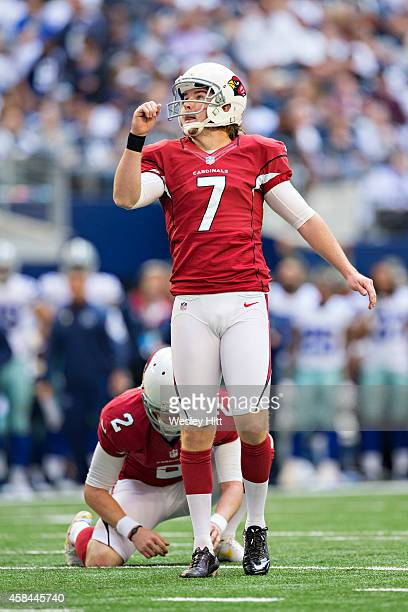 Chandler Catanzaro of the Arizona Cardinals kicks a extra point during a game against the Dallas Cowboys at ATT Stadium on November 2 2014 in...