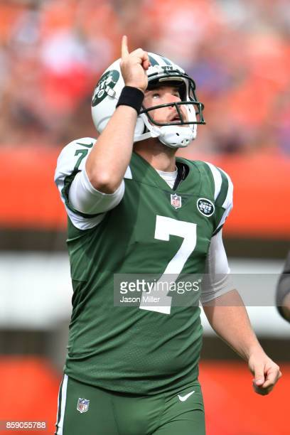 Chandler Catanzaro of the New York Jets celebrates a 57yard field goal in the second quarter against the Cleveland Browns at FirstEnergy Stadium on...