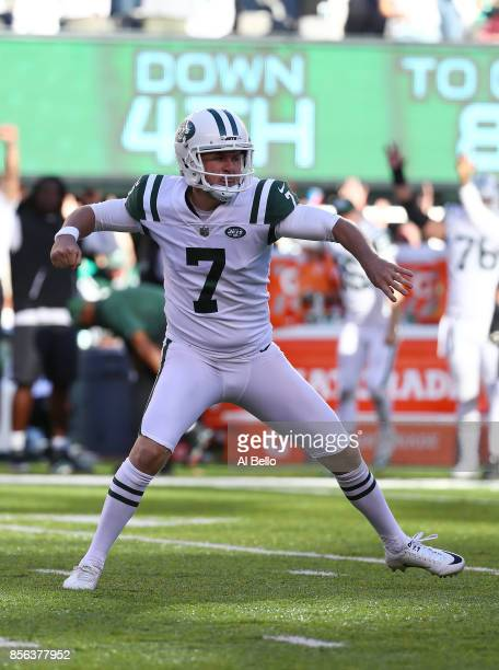 Chandler Catanzaro of the New York Jets celebrates after kicking the winning overtime field goal against the Jacksonville Jaguars turnover win the...