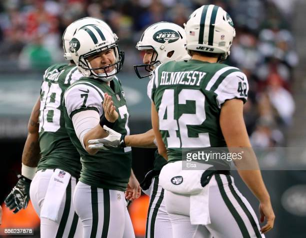 Chandler Catanzaro of the New York Jets is congratulated after he kicked a field goal against the Kansas City Chiefs on December 03 2017 at MetLife...