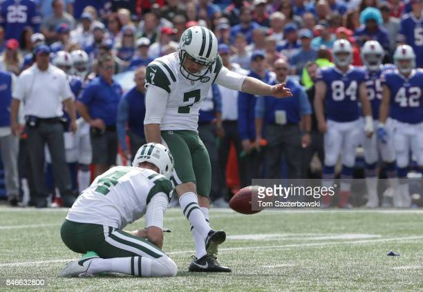 Chandler Catanzaro of the New York Jets kicks a field goal during NFL game action against the Buffalo Bills at New Era Field on September 10 2017 in...