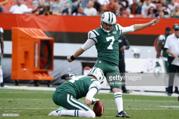 Chandler Catanzaro of the New York Jets kicks a field goal in the second half against the Cleveland Browns at FirstEnergy Stadium on October 8 2017...